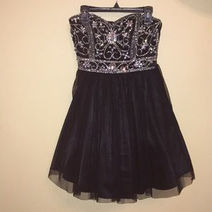Short Tulle Formal Dress with Bedazzled top